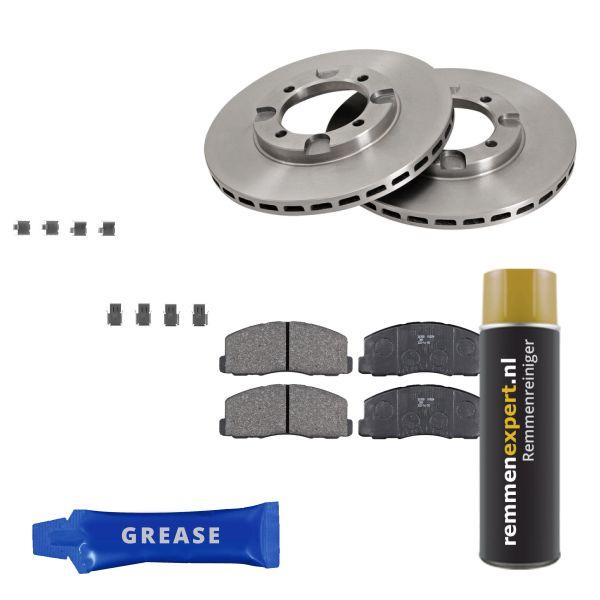 Voordeelpakket remschijven & remblokken voorzijde MITSUBISHI LANCER IV 1.8 GLX Diesel