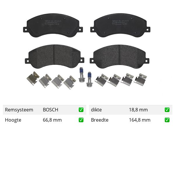 Remblokkenset voorzijde Brembo premium VW VOLKSWAGEN AMAROK (2HA, 2HB, S1B, S6B, S7A, S7B) 3.0 TDI 4motion