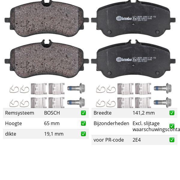 Remblokkenset achterzijde Brembo premium VW VOLKSWAGEN AMAROK (2HA, 2HB, S1B, S6B, S7A, S7B) 3.0 TDI 4motion