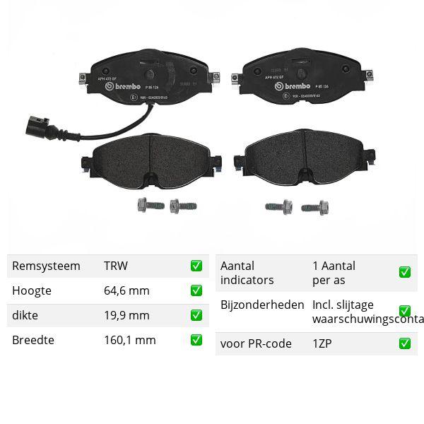 Remblokkenset voorzijde Brembo premium VW VOLKSWAGEN ARTEON (3H7) 1.5 TSi
