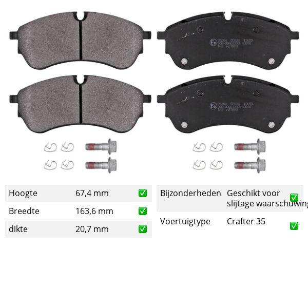 Remblokkenset achterzijde originele kwaliteit VW VOLKSWAGEN CRAFTER Open laadbak/ Chassis (SZ_) 2.0 TDI 4motion