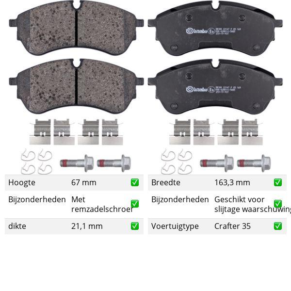Remblokkenset voorzijde Brembo premium VW VOLKSWAGEN CRAFTER Open laadbak/ Chassis (SZ_) 2.0 TDI 4motion