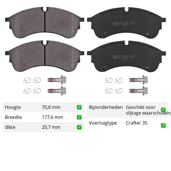 Remblokkenset voorzijde originele kwaliteit VW VOLKSWAGEN CRAFTER Open laadbak/ Chassis (SZ_) 2.0 TDI RWD
