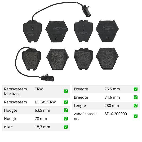 Remblokkenset voorzijde Brembo premium VW VOLKSWAGEN PASSAT (3B3) 2.8 4motion