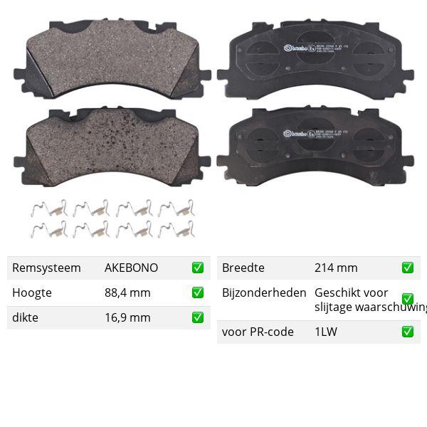 Remblokkenset voorzijde Brembo premium VW VOLKSWAGEN TOUAREG (CR7) 3.0 TDI 4motion