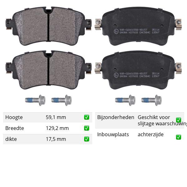 Remblokkenset achterzijde originele kwaliteit VW VOLKSWAGEN TOUAREG (CR7) 3.0 TDI 4motion