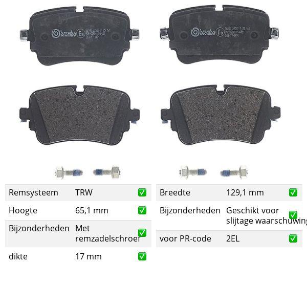 Remblokkenset achterzijde Brembo premium VW VOLKSWAGEN TOUAREG (CR7) 3.0 TDI 4motion
