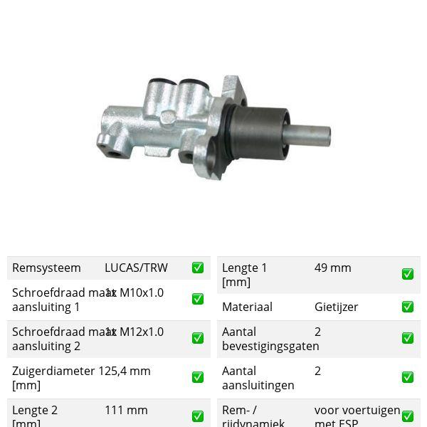 Hoofdremcilinder voorzijde VW VOLKSWAGEN PASSAT (3B3) 2.8