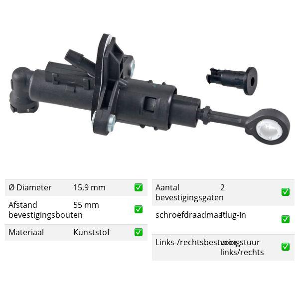 Koppelingcilinder -pedaal voorzijde VW VOLKSWAGEN POLO (AW1, BZ1) 1.6 TDI