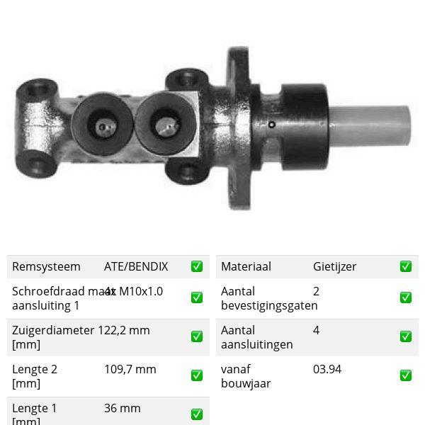 Hoofdremcilinder voorzijde VW VOLKSWAGEN QUANTUM 2.0 Álcool