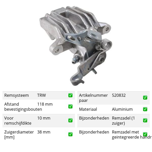 Remklauw achterzijde, links VW VOLKSWAGEN GOLF V (1K1) 1.9 TDI