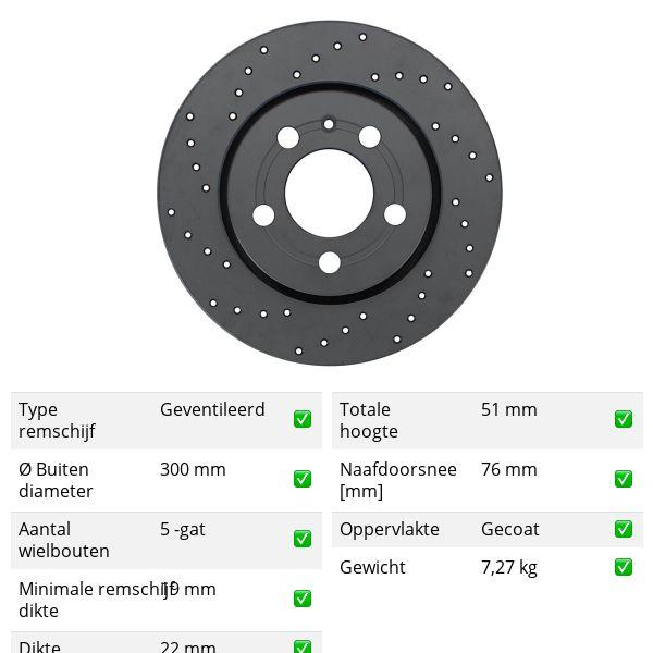 Geperforeerde remschijven achterzijde Sport kwaliteit VW VOLKSWAGEN AMAROK (2HA, 2HB, S1B, S6B, S7A, S7B) 3.0 TDI