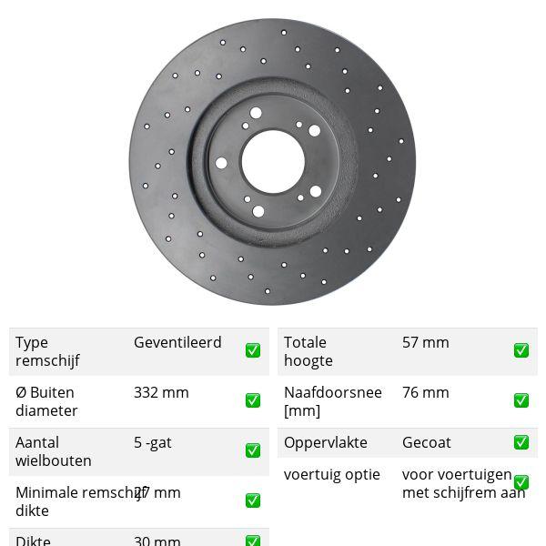 Geperforeerde remschijven voorzijde Sport kwaliteit VW VOLKSWAGEN AMAROK (2HA, 2HB, S1B, S6B, S7A, S7B) 3.0 TDI 4motion