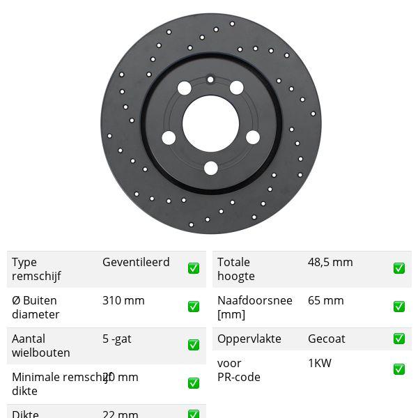 Geperforeerde remschijven achterzijde Sport kwaliteit VW VOLKSWAGEN ARTEON (3H7) 1.5 TSi