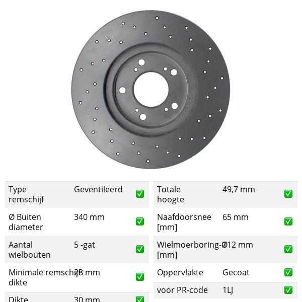 Geperforeerde remschijven voorzijde Sport kwaliteit VW VOLKSWAGEN ARTEON (3H7) 1.5 TSi