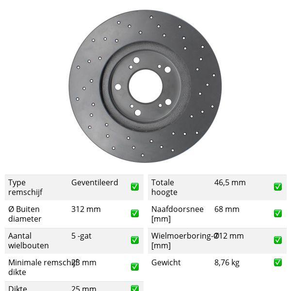 Geperforeerde remschijven voorzijde Sport kwaliteit VW VOLKSWAGEN PASSAT (3B3) 2.8 4motion